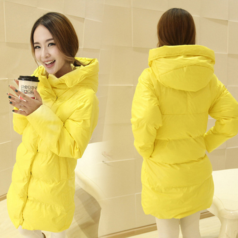 Genuine Women Winter Coat 2017 Girls Long Thick Overcoat Loose Cotton Clothes Bread Yellow Padded Cotton Coats Winter Coat DM060