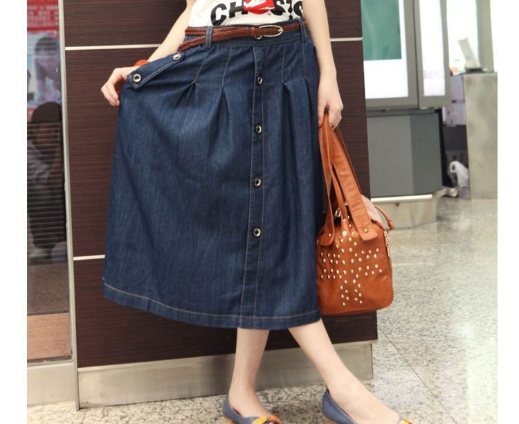f6ac412d9515f Korean Charm Lady Casual Denim Skirts Plus Size XXXL girl Loose midi skirt  New Long Design A line Jean Skirt jupe longue-in Skirts from Women's ...