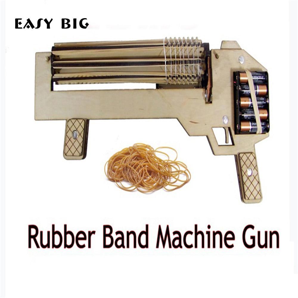 EASY BIG Electric Auto Wooden Gun Toys DIY Rubber Band
