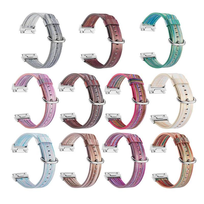 1 шт. Радуга Кожа Часы наручные ремешок w/застежка из нержавеющей Для Fitbit ионной красочный браслет часы наручные ремень продвижение