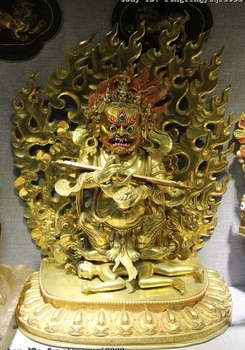 Tibet Copper Bronze 24K Gold Gilt Jambhala Vajra Dharma Mahakala Buddha Statue statue