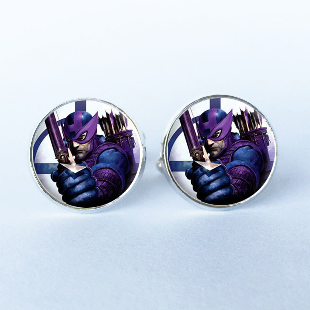 1Pair Manufacturers supply glass mosaic Super hero wedding cufflinks cuff cuff shirt men black suit accessories