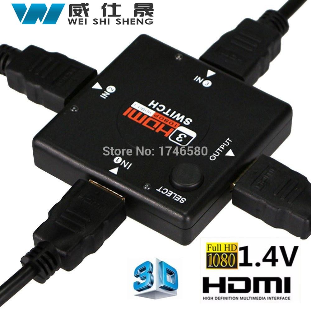Hot New 1Pcs Wholesale Mini HDMI Port 3 Port HDMI Splitter HDMI Switch Switcher for HDTV 1080P Vedio 3 port 1080p video hdmi switch switcher splitter for hdtv ps3 dvd ir remote un2f 100% new high quality