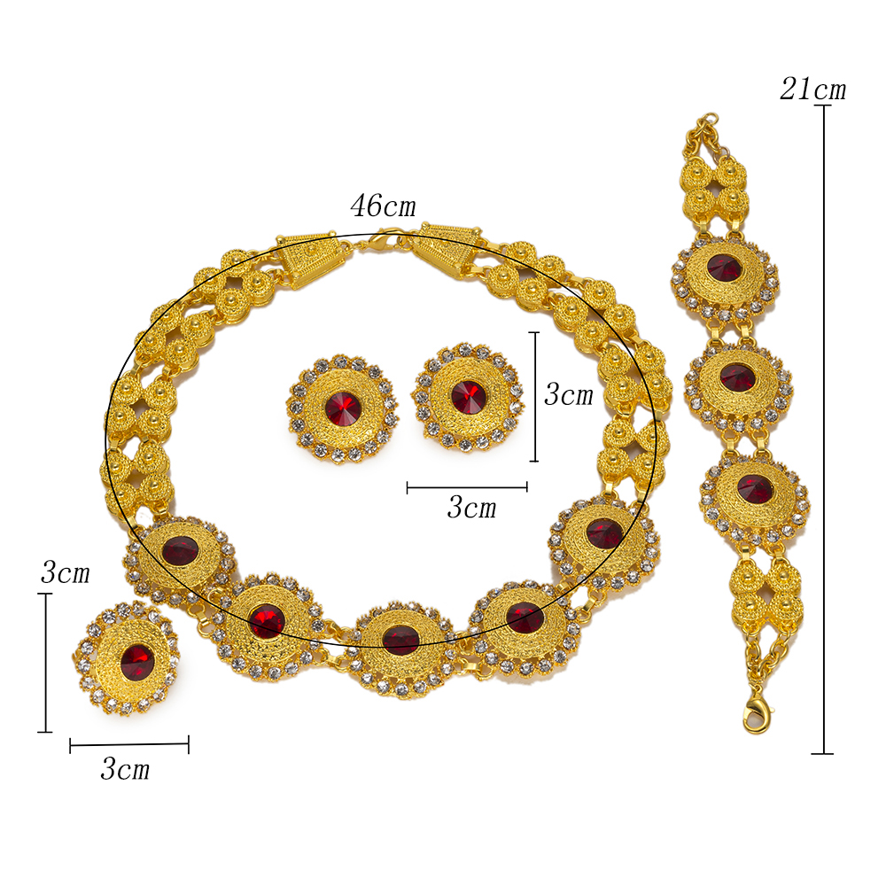 BAUS Ethiopian jewelry Dubai gold -color jewelry sets Crystal african beads jewelry set Choker Women Bridal Jewelry Set Design