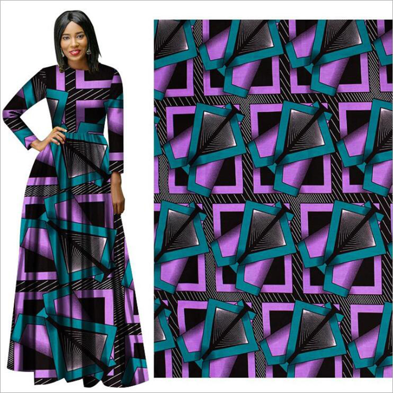 Me-dusa 2019 new purple blue African Print Wax Fabric 100% cotton Hollandais Wax Dress Suit cloth 6yards/pcs High quility(China)