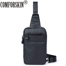 COMFORSKIN New Arrivals Cowhide Leather Chest Bag 2018 Bolsa Masculina Hot Brand Fashion Style Mens Messenger Bags Pack