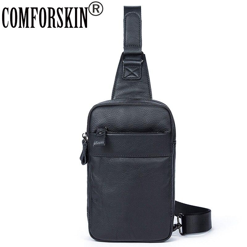 COMFORSKIN nouveaux arrivants sac de poitrine en cuir de vachette 2018 Bolsa Masculina marque chaude de mode Style hommes Messenger sacs Pack de poitrine