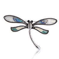 2015 Fashion Woman Stainless Steel Antique Silver Plated Dragonfly Eye Gem Brooch Summer Style Accessories Wholesale
