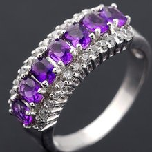 Кольцо с натуральным аметистом, серебро 925 пробы,, драгоценные камни фиолетового цвета, 0.2ct* 7 шт, драгоценный камень# X981808