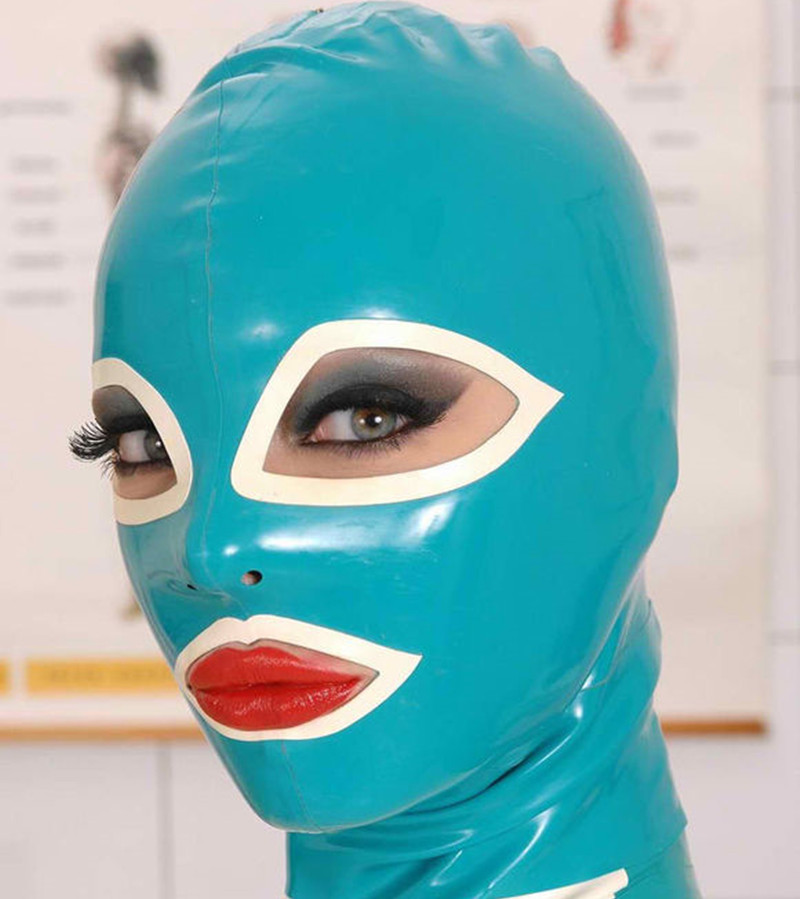 Buy New arrival Anatomical Latex Mask Black Rubber Fetish Latex Hoods Masks Mouth Eyes Condom Rubber customized catsuit costume