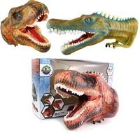 Realistic Dinosaur Figures Hand Puppets Gloves Soft Glue Rubber Animal Head Action Finger Dinosaur Model Toys For Children Gift