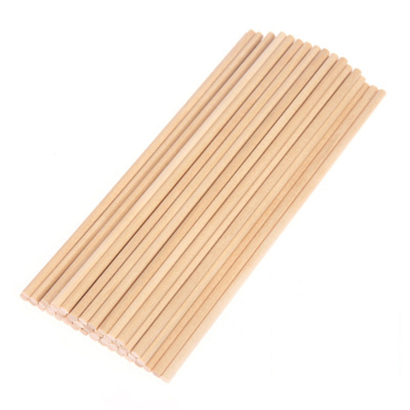 50Pcs Round Wooden Stick Wood Natural Color Cake Dowel For DIY Food Craft 10*0.5cm/15*0.5cm/20*0.5cm