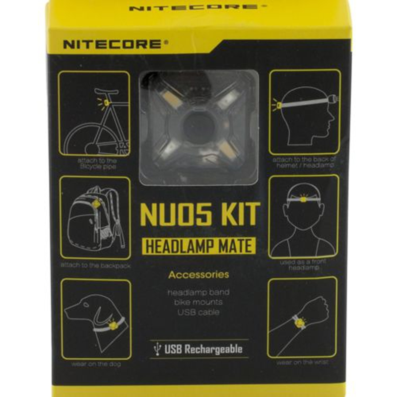 NITECORE OutdoorHeadlamp USB Rechargeable NU05 KIT 35 Lumen White/Red Light High Performance 4xLEDs Lightweight Portable