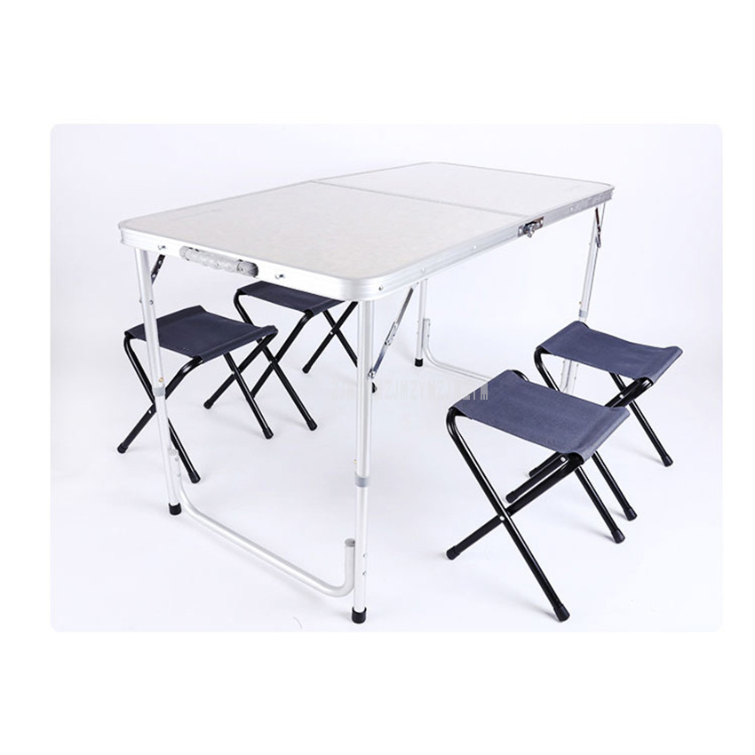 Portable Outdoor Camping Folding Table With 4PCS Stool Aluminium Alloy Ultra-light Foldable Tables Desk For Hiking Picnic 120*60Portable Outdoor Camping Folding Table With 4PCS Stool Aluminium Alloy Ultra-light Foldable Tables Desk For Hiking Picnic 120*60