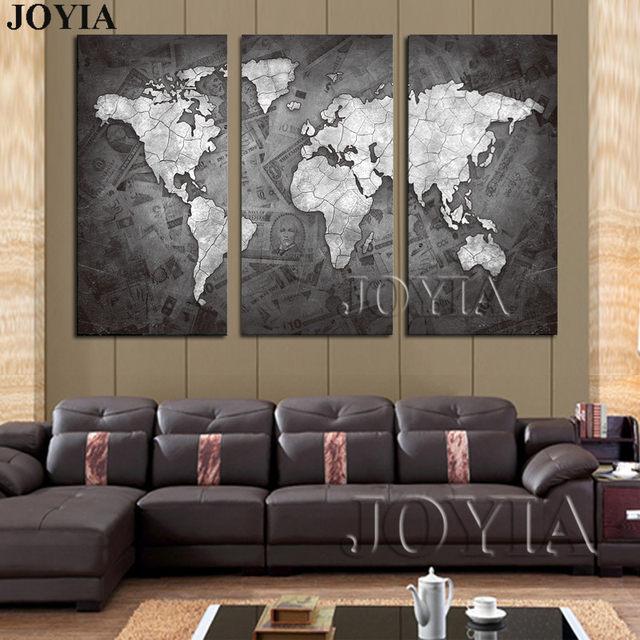 Online Shop Large World Map Wall Art Canvas Black Metalic Modern ...