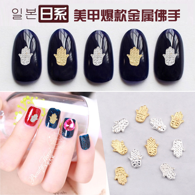2015 New Japan 100pcs/bag 3D Metal Nail Art Decoration Buddha Hand ...