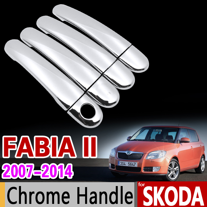 for Skoda Fabia 2 2007-2014 Chrome Handle Cover Trim Set MK2 5J Hatch Wagon Comib 2009 2013 Car Accessories Stickers Car Styling car usb sd aux adapter digital music changer mp3 converter for skoda octavia 2007 2011 fits select oem radios