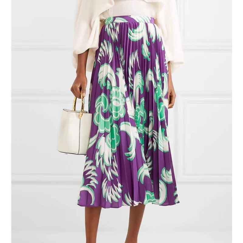 Cosmicchic Fashion High Waist Summer Midi Skirt Floral Print Vintage A line Pleated Skirt Designer Skirt