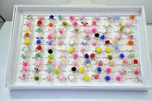100 шт новинка модное кольцо с милыми цветами из смолы для женщин