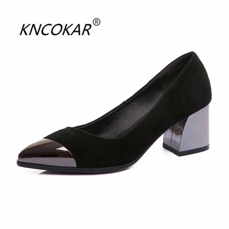 KNCOKAR 2018 Spring and summer new fashion sexy sheepskin metal head shallow-mouth young lady with real leather single shoesKNCOKAR 2018 Spring and summer new fashion sexy sheepskin metal head shallow-mouth young lady with real leather single shoes