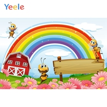 Yeele Personalized Rainbow Bees Cartoon Communion Birthday Party Photography Backgrounds Photographic Backdrops For Photo Studio
