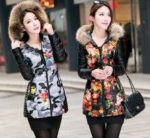 Pu chaqueta wadded femenino medio-largo más tamaño chaqueta de algodón acolchado delgado 2017 de impresión de cuero de piel de mapache engrosamiento Abrigo