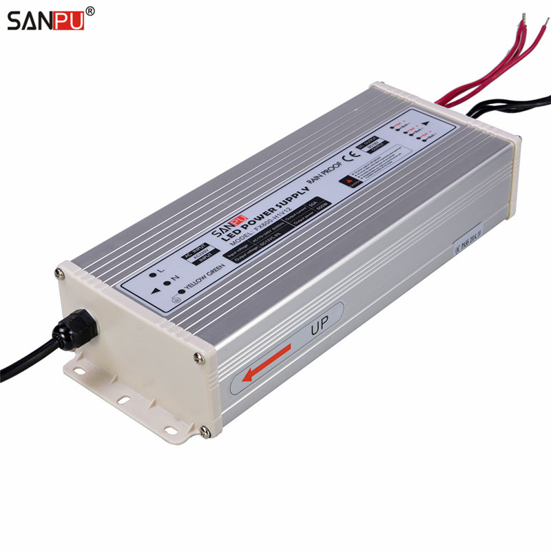 SANPU SMPS 600w 12v LED Power Supply 50a Constant Voltage Switching Driver 220v 230v ac dc Lighting Transformer Rainproof IP63 sanpu smps led display switching power supply 5v dc 300w 60a 110v 220v ac dc lighting transformer driver rainproof outdoor