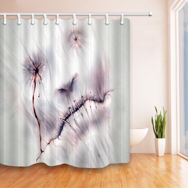 Horror Series Bloody Eyes And Stitched Lips Form A Horrible Face Shower Curtain Fabric Bathroom Perfect Decoration