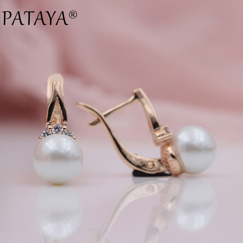 PATAYA New Arrivals 585 Rose Gold Natural Zircon Imitation Pearl Dangle Earrings Women Wedding Party Simple Fashion Fine JewelryPATAYA New Arrivals 585 Rose Gold Natural Zircon Imitation Pearl Dangle Earrings Women Wedding Party Simple Fashion Fine Jewelry