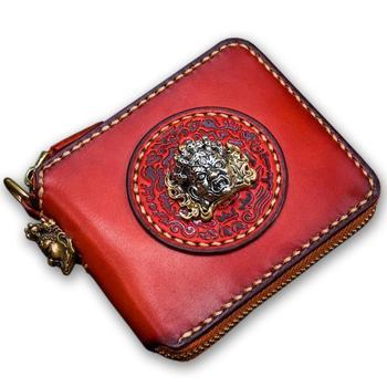Original design Tibetan three-dimensional decorative statue decoration wallet leather handmade square Women's wallets