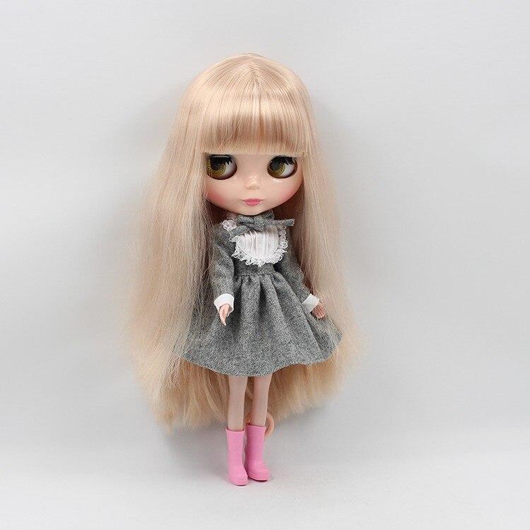 Neo Blythe Doll Warm Grey Lace Dress with Bow 2