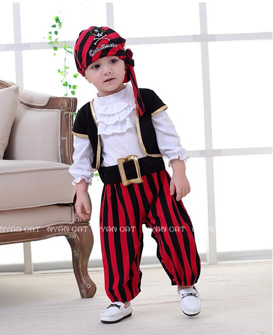 Halloween Baby Boys Cosplay Pirates Of The Caribbean Costume Kid Party Clothes Pirate Captain Costumes Christmas Pirate Costume