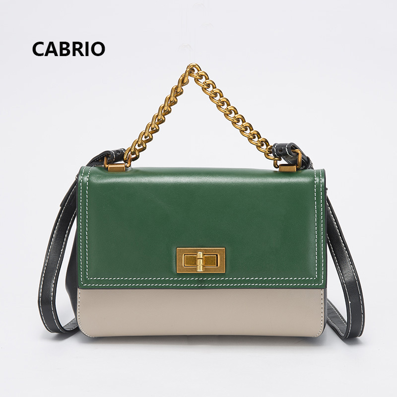 CABRIO Women Crossbody bags Patchwork Genuine Leather Flap Small Messenger Bags For Ladies Women Handbags Chain Strap Handle Bag luxury handbags women bags designer messenger chain bag genuine leather cover vintage flap patchwork ladies high quality purses