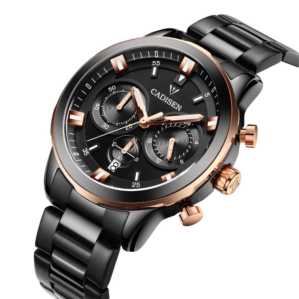Prix pour CADISEN D'origine Hommes de Chronographe À Quartz Montres Hommes Top Marque De Luxe Montres Étanche Classique Montre Heures Horloge Mâle