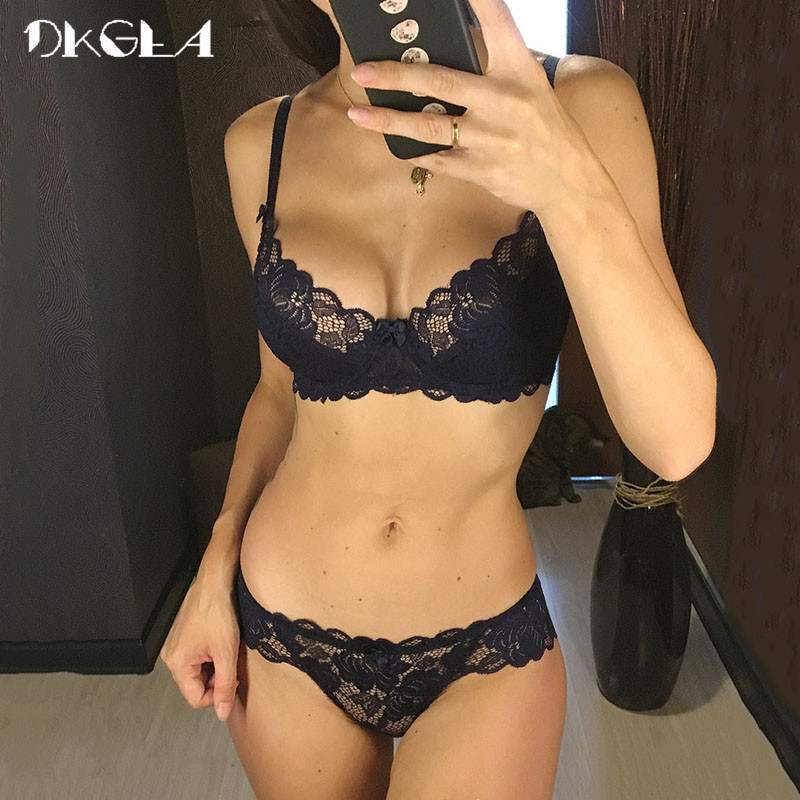 Hollow Ultrathin Underwear Set Plus Size C D Cup Women Transparent Lace Bra Sets