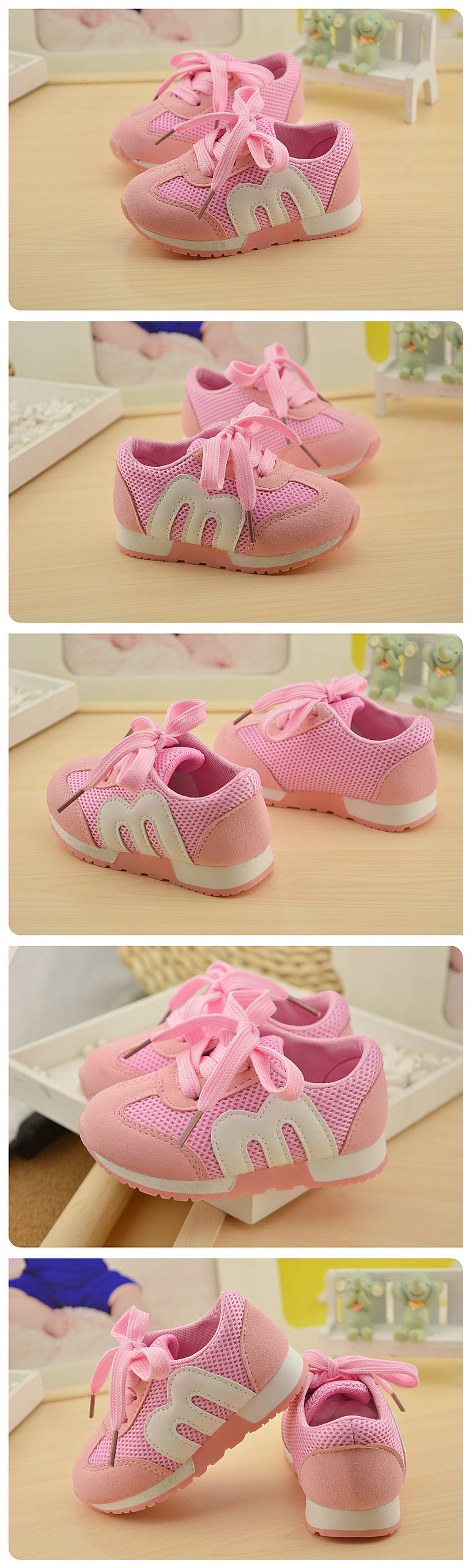 19 New Brand Spring Comfortable Sneakers Boy Girl Children's Sports Casual Shoes Breathable Mesh Baby Kids Soft Bottom Shoes 1