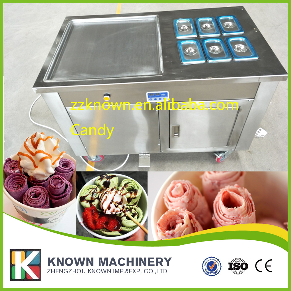 Free Shipping Stainless Steel 110v 220v Electric 45cm Thai Fry Pan Ice Cream Rolled Yogurt Maker Fried Ice Cream Roll Machine chinese single round pan rolled ice cream machine fried ice cream roll machine with 6 barrels