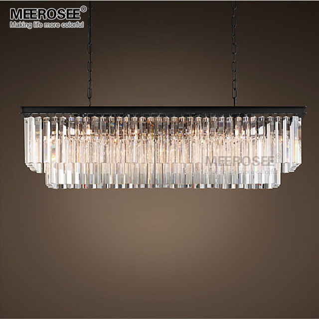 MEELIGHTING Modern Rectangle Crystal Hanging Dining room Pendant Lighting
