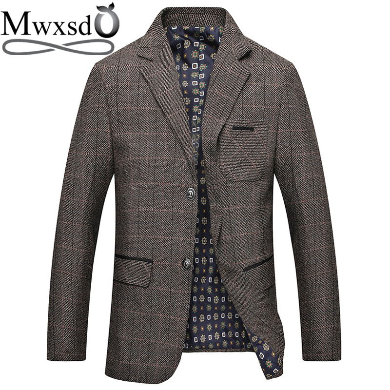 Mwxsd Brand Men's Plaid Wool Blazer Jacket Men Fashion Slim Fit Suit  Jacket Homme Casual Male Blazer Suit Jacket Masculino