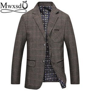 Image 1 - Mwxsd brand Mens Plaid Wool Blazer jacket Men Fashion Slim fit suit  jacket homme Casual male blazer Suit Jacket masculino