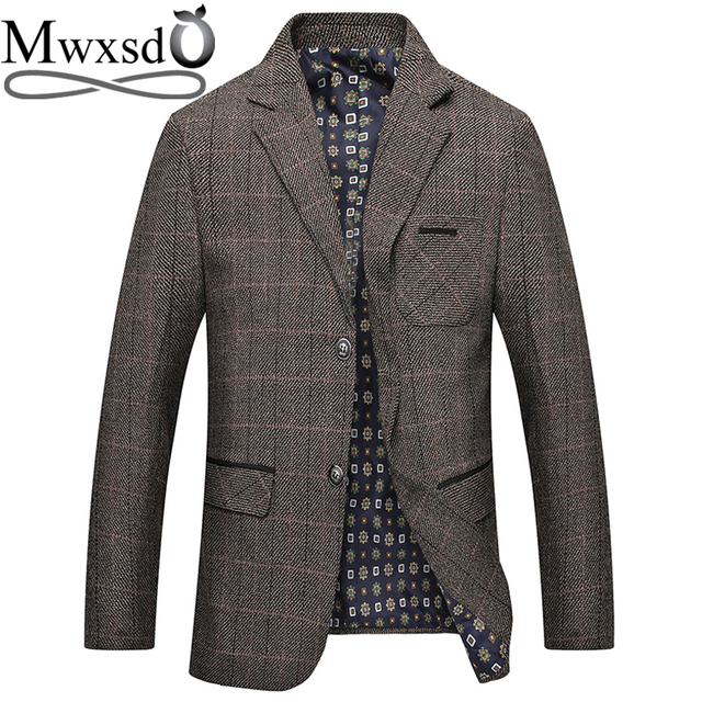 Mwxsd brand Mens Plaid Wool Blazer jacket Men Fashion Slim fit suit  jacket homme Casual male blazer Suit Jacket masculino