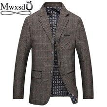 Mwxsd marka erkek ekose yün Blazer ceket erkekler moda Slim fit takım elbise ceket homme rahat erkek blazer takım elbise ceket masculino