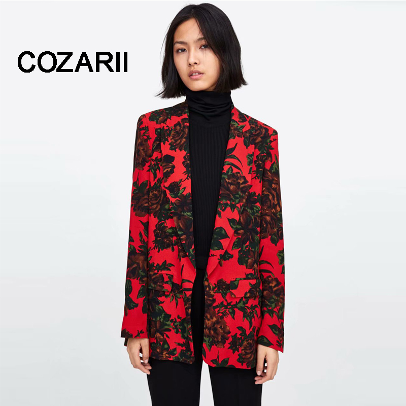2018 Formal Fashion Newly Women Ladies Autumn Printing Suit Coat Business Blazer Long Sleeve Solid Slim Blazes Style only tops