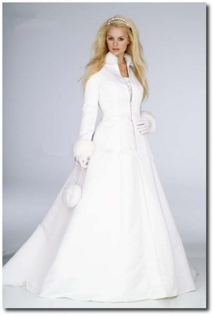 d84294b11 Elegant Bridal Winter Coat Wedding Cloak Long Sleeves Faux Fur Floor Length Bridal  Jacket White /