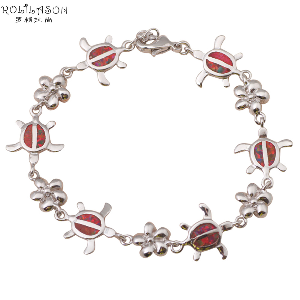 Tortoise design hot Wholesale & retail Orange fire Opal Silver Stamped Fashion Jewelry Bracelets Anniversary OB035