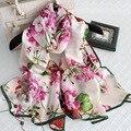 Seda pura Lenço Das Mulheres 100% Lenço De Seda Feminina Longo Mulher Moda Bandana Lenços De Luxo de Alta Qualidade de Impressão Cachecol Xale Hijab