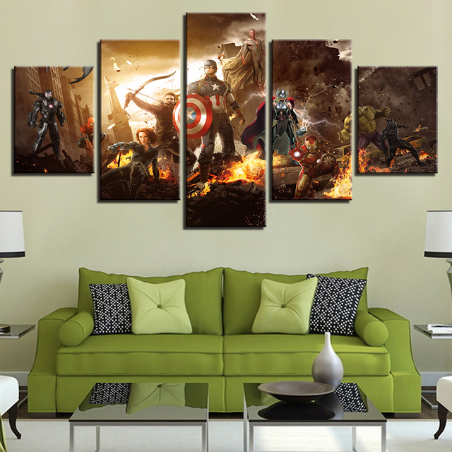 Poster Modular Canvas Picture 5 Panel Captain America Wall Art