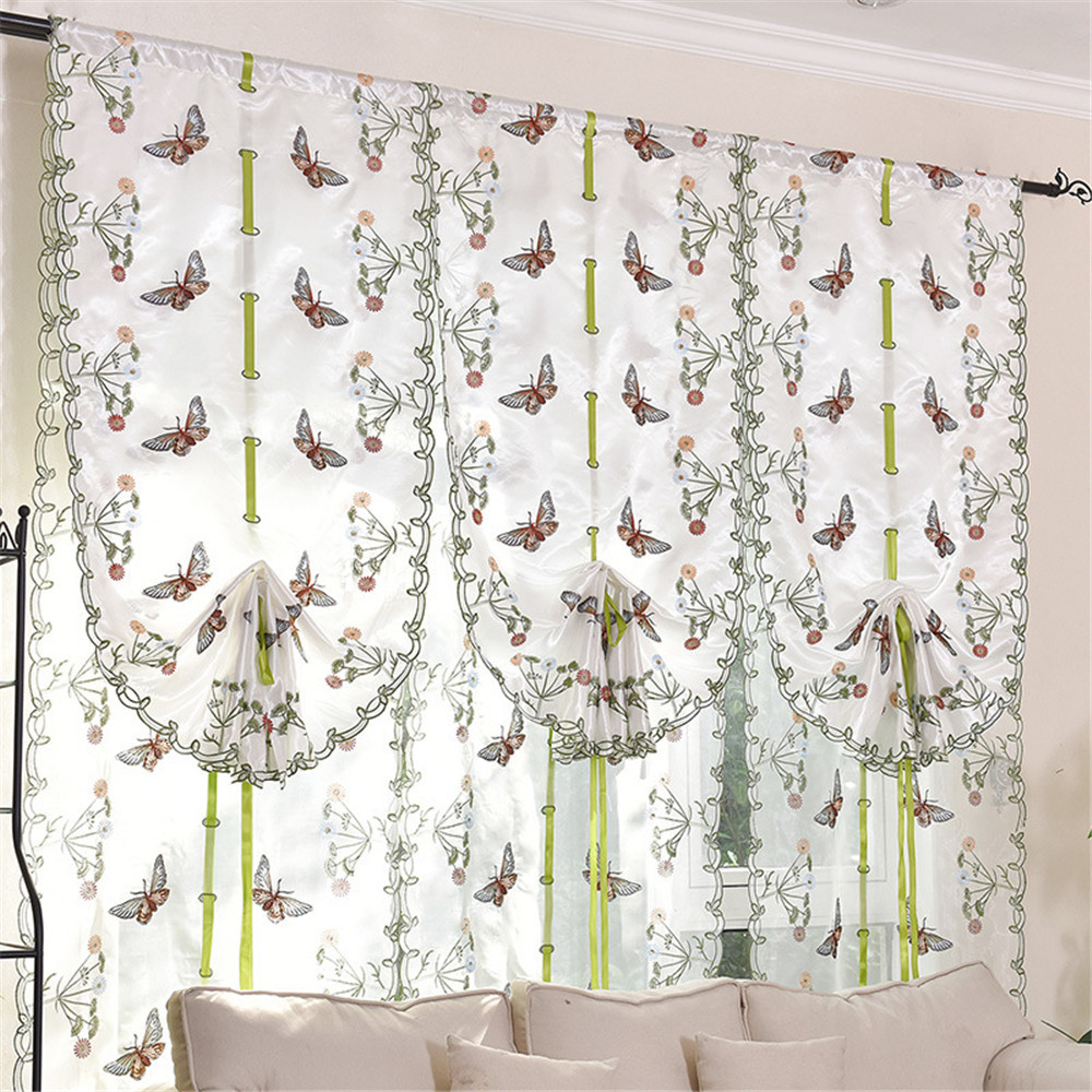Beautiful Butterfly Kitchen Curtains Tulle for Windows Sheer Curtains for  Living room Bedroom Window Embroidered Roman Curtain