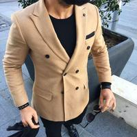 2018 Classic Brown Tweed Jacket Double Breasted Men Suit Tuxedo Slim Fit Business Casual Masculino Winter Custom 2 Pieces Terno
