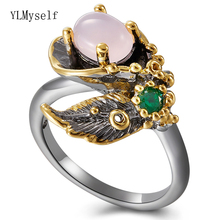 цены Oval Pink stone Leaf Ring Black Nickle Gold 2Tone plated Vintage Jewellery for Cocktail Party Best Jewelry rings for Women